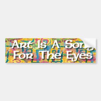 El arte es una canción para el pegatina de los ojo pegatina para auto