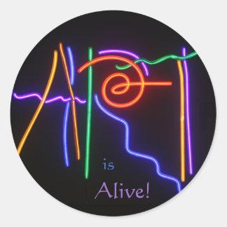 ¡El arte está vivo! Pegatina Redonda