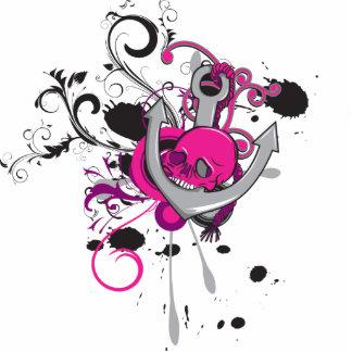 el arte gótico rosado del vector del cráneo y del  llavero fotográfico