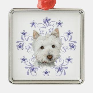 El arte lindo y la nieve del perro de Westie del Adorno Navideño Cuadrado De Metal