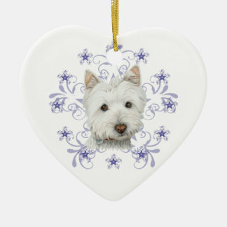 El arte lindo y la nieve del perro de Westie del Adorno Navideño De Cerámica En Forma De Corazón