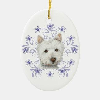 El arte lindo y la nieve del perro de Westie del Adorno Navideño Ovalado De Cerámica