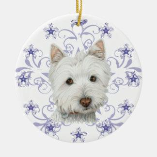 El arte lindo y la nieve del perro de Westie del Adorno Navideño Redondo De Cerámica