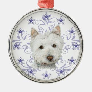 El arte lindo y la nieve del perro de Westie del Adorno Navideño Redondo De Metal
