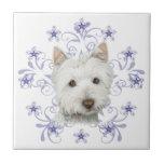 El arte lindo y la nieve del perro de Westie del n Azulejos Ceramicos