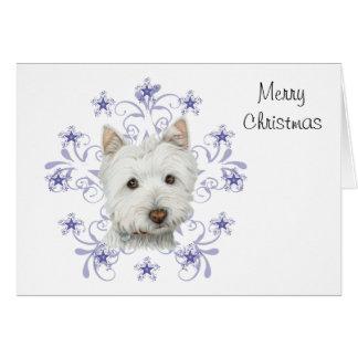 El arte lindo y la nieve del perro de Westie del Tarjeta De Felicitación