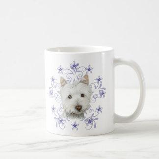 El arte lindo y la nieve del perro de Westie del Taza