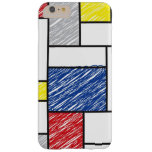 El arte minimalista de Mondrian de Stijl garabatea Funda De iPhone 6 Plus Barely There