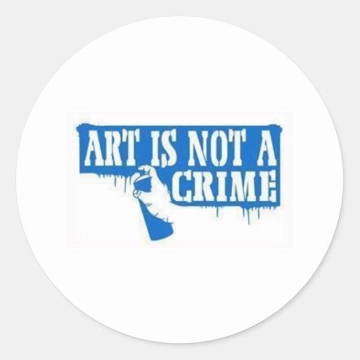 El arte no es un crimen pegatinas redondas