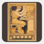 El arte Nouveau, amor del vintage conquista a todo Pegatina Cuadrada