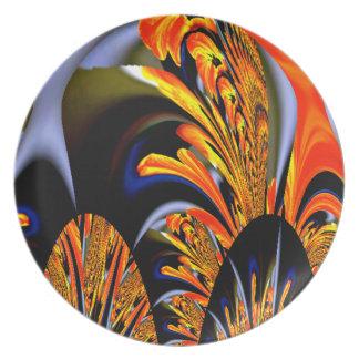 El arte Nouveau-Condimentó diseño del fractal del Platos Para Fiestas