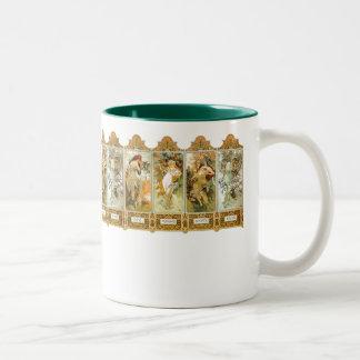 El arte Nouveau de Mucha del vintage sazona la taz