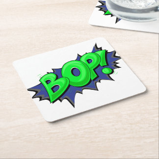 ¡El arte pop cómico Bop! Posavasos De Cartón Cuadrado
