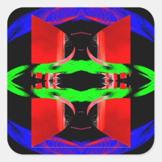 El arte pop de neón diseña el contexto de neón 3 pegatina cuadrada