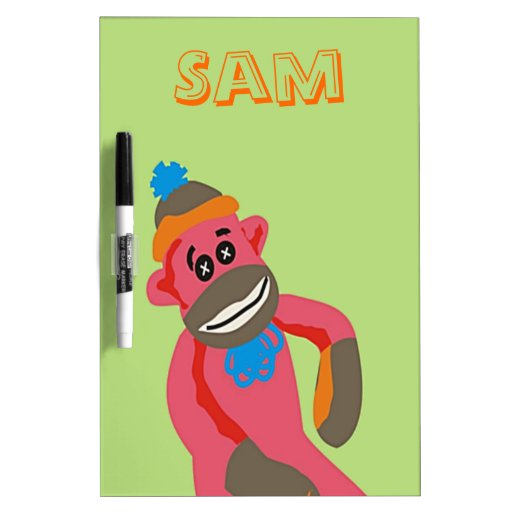 El arte pop del mono del calcetín añade el texto c pizarra blanca