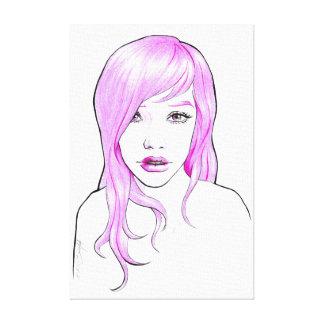 El arte pop rosado del retrato del dibujo animado impresión en lona estirada