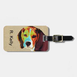 El arte pop tiene gusto del beagle etiqueta para equipaje