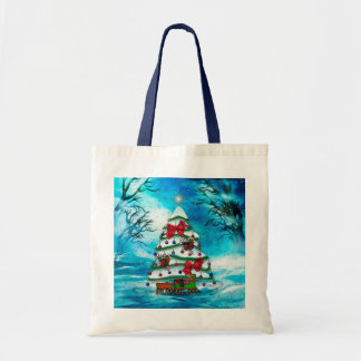 El arte popular del navidad del árbol bolsa tela barata