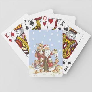 El arte popular lindo de Santa embroma los copos d Cartas De Póquer