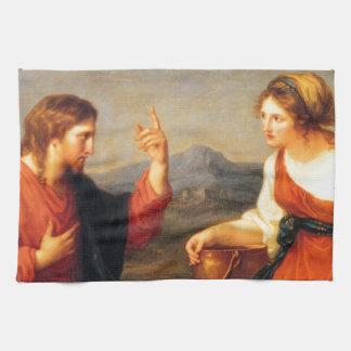 El arte por los amos Jesús se sienta con el Toallas