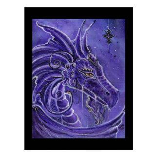 El arte púrpura de la fantasía del dragón de Renee Tarjeta Postal