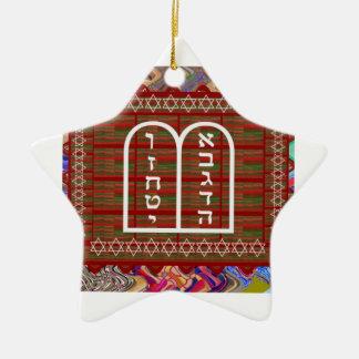 El arte ritual espiritual religioso judío efectúa adorno navideño de cerámica en forma de estrella