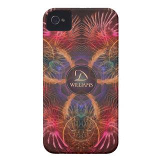 El arte rojo del fractal empluma la caja del iPhone 4 Case-Mate carcasas