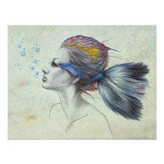 El arte surrealista de los pescados de la mujer cojinete