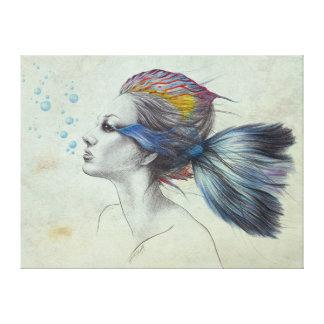 El arte surrealista de los pescados de la mujer impresiones en lona estiradas