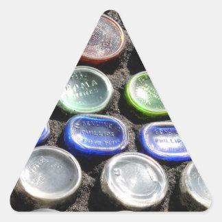 El arte Upcycled de la botella embotella fotogra Calcomania Triangulo