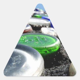 El arte Upcycled de la botella embotella fotogra Calcomanías Trianguloes