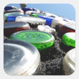 El arte Upcycled de la botella embotella fotogra Calcomanía Cuadradas Personalizada