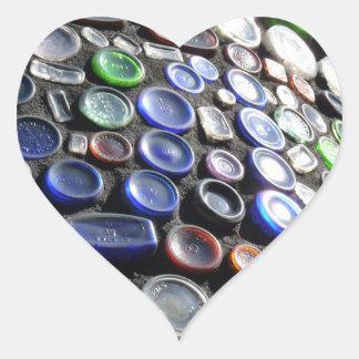 El arte Upcycled de la botella embotella fotogra Pegatinas Corazon Personalizadas