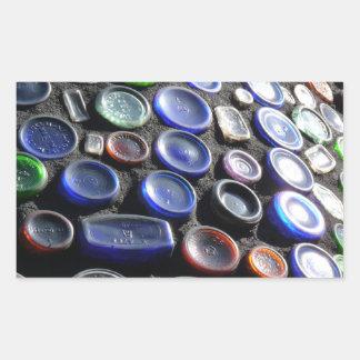 El arte Upcycled de la botella embotella fotogra Rectangular Pegatinas