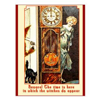 El arte Witching de Halloween del vintage de la ho Tarjetas Postales