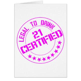 El artículo de 21 cumpleaños ahora certificó el ro tarjeta de felicitación