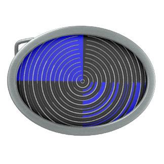 El ARTISTA creó las ondas azules de plata de n en Hebilla De Cinturon Oval