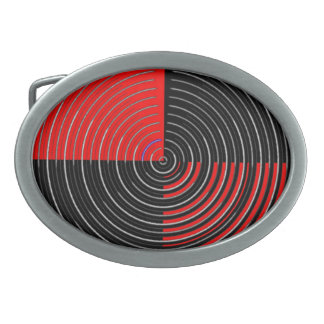 El ARTISTA creó las ondas rojas de plata de n en Hebillas Cinturon Ovales