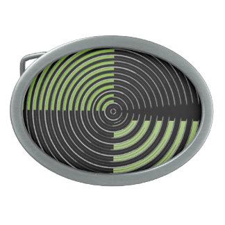El ARTISTA creó las ondas verdes de plata de n en Hebilla De Cinturón Oval