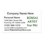 El artista de los bonsais me teme texto verde tarjetas de negocios
