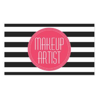 El artista de maquillaje negro y el blanco raya la tarjetas de visita