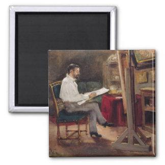 El artista Morot en su estudio, c.1874 Imán Cuadrado