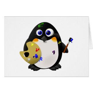 """""""El artista"""" -- Pingüino lindo del pintor Tarjeta De Felicitación"""