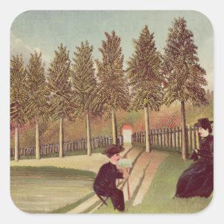 El artista que pinta a su esposa, 1900-05 pegatina cuadrada