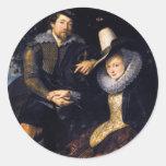 El artista y su primera esposa, Isabel Barnacla Pegatina Redonda