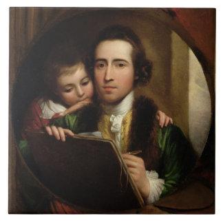 El artista y su Raphael del hijo, c.1773 (el aceit Azulejo Cuadrado Grande