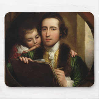 El artista y su Raphael del hijo, c.1773 (el aceit Tapete De Raton