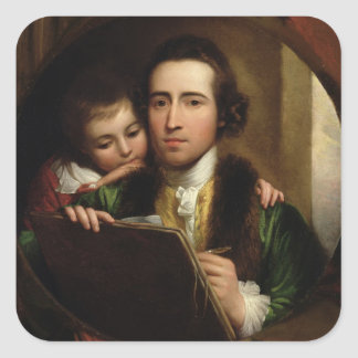 El artista y su Raphael del hijo, c.1773 (el Pegatina Cuadrada