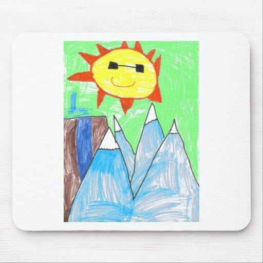 el artwok de los niños de las montañas del sol n tapete de raton