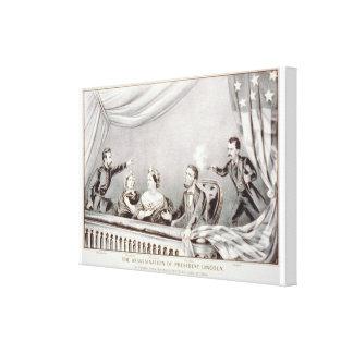 El asesinato de presidente Lincoln Lithograph Impresión En Lienzo